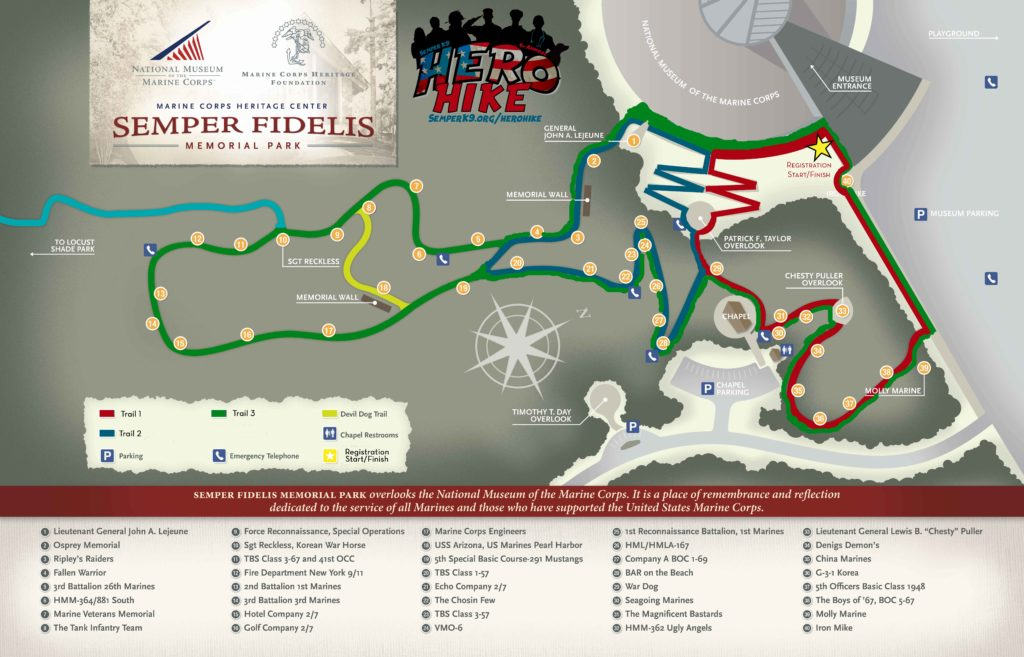 Hero Hike Trails at Semper Fidelis Park