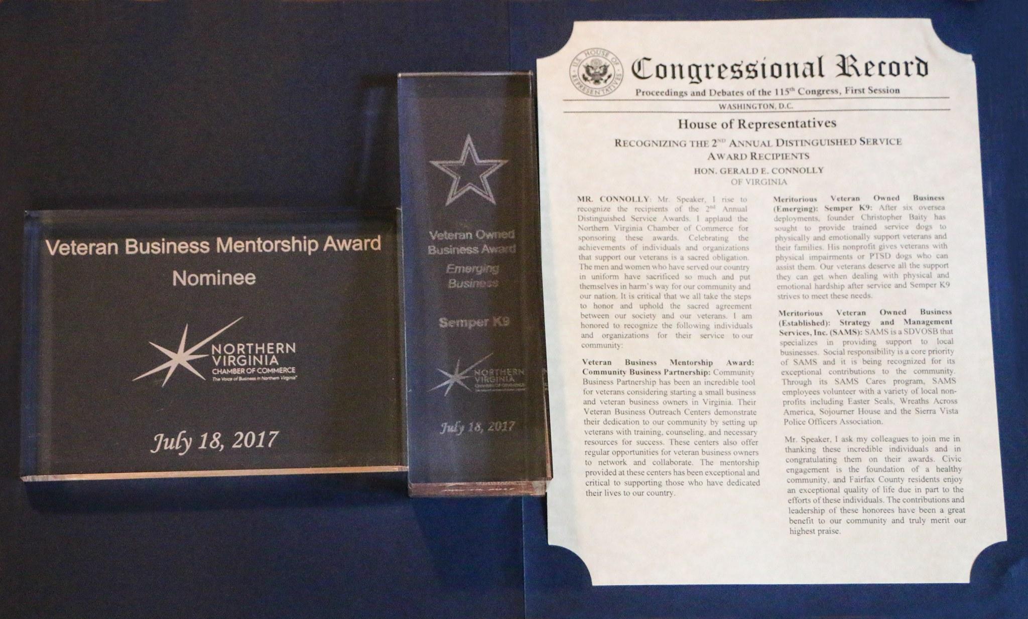 Semper K9 Wins NOVA Chamber of Comerce Emerging Veteran Owned Business Award